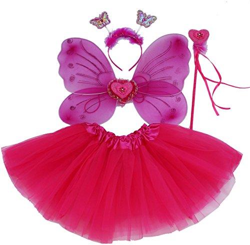 Billig Kostüm Fee - Fun Play hot pink Fee Kostüm - schmetterlingsfee Flügel, Tutu, Zauberstab und Stirnband hot pink eingestellt