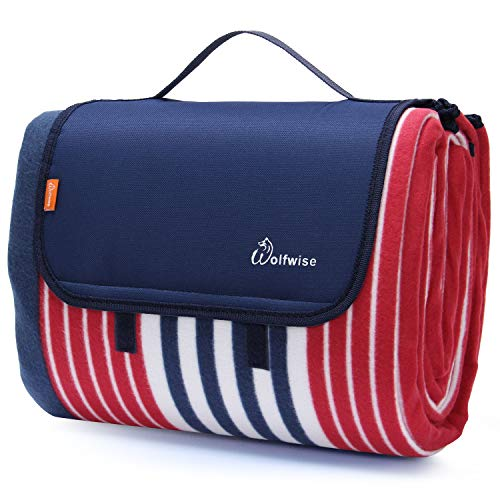 WolfWise 200 x 200 cm XXL Picknickdecke, Wasserdichte Campingdecke Stranddecke Outdoordecke aus Weiches Fleece Sandfrei mit Tragetasche, Rot Blau Streifen -