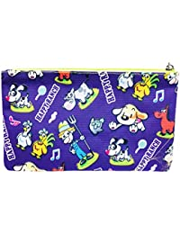 Meher Collection Zipper Pouch With Single Pocket And Zip In Purple Ranch Print With Neon Green Lining