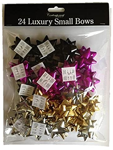 Pack of 24 Contemporary Small Foil Metallic Gift Bows -