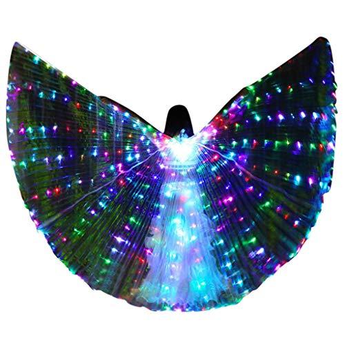 Erwachsene Für Kostüm Kinderlied - Frauen LED Bauchtanz Flügel - Bunte Flügel mit Teleskopstab - Bauchtanz Performance Kostüm - Halloween Weihnachten Cosplay Kostüm Engelsflügel