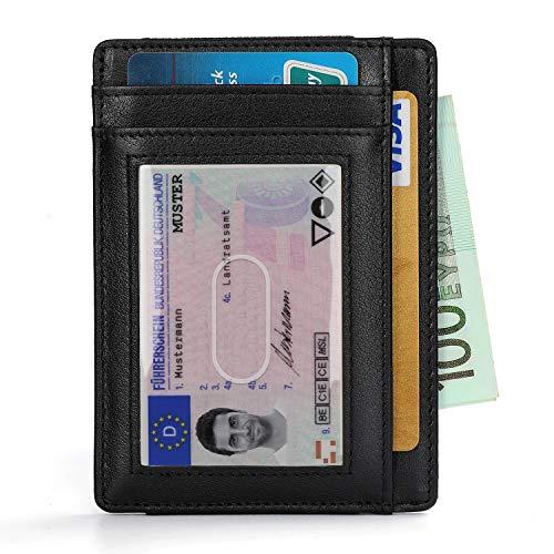 Vemingo Portafoglio Uomo Vera Pelle Porta carte di credito/portafoglio uomo pelle con serratura RFID per varie carte personali minimalista