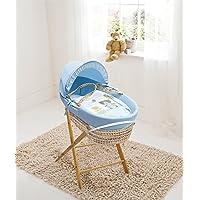 Beary Nice Blue Palm Moses Basket & Folding Stand