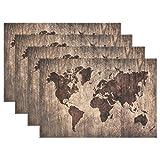 Jstel carte du monde vintage 30,5x 45,7cm Sets de table résistant à la chaleur Tapis de table de salle à manger antidérapant lavable Sets de table pour la maison Décoration de cuisine, Polyester, 1