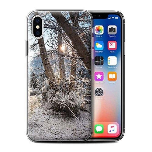 Stuff4 Gel TPU Hülle / Case für Apple iPhone X/10 / Gefrorene Bäume Muster / Winter Saison Kollektion Gefrorene Bäume