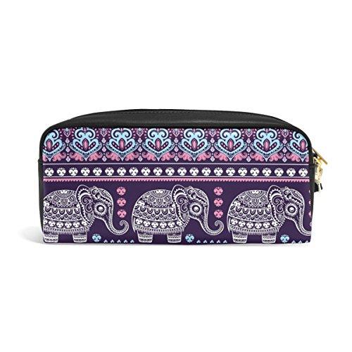zzkko Trible Ethnic Elefant Leder Reißverschluss Federmäppchen Stift Stationäre Tasche Kosmetik Make-up Tasche