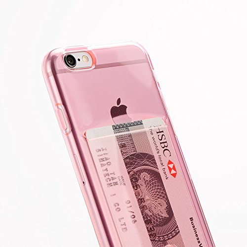 Funda Apple iPhone 6 y 6S rosa clarito de silicona con tarjetero para guardar 1-2 tarjetas.