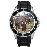 Elefante Unisex Reloj para hombre y mujer con correa de silicona negro