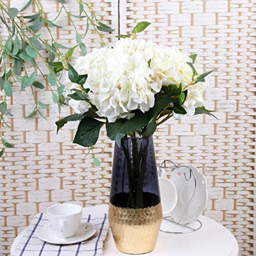 FCL RAN Künstliche Blumen, Hortensien, Seide, Blumengestecke, 4 Farben, 5 Stiele pro Bündel, weiß, Total Length 45cm, Flower Head Diameter 16cm