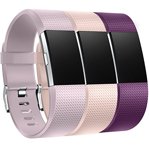 HUMENN Armband Für Fitbit Charge 2, Weiches Silikon Sports Ersetzerband Fitness Verstellbares Uhrenarmband für Fitbit Charge2 Groß, Lavendel/Blushpink/Pflaume