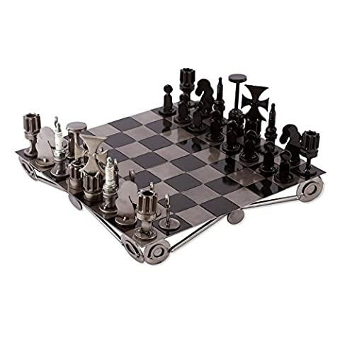 NOVICA Decorative Recycled Metal Chess Set, Metallic, 'Recycling