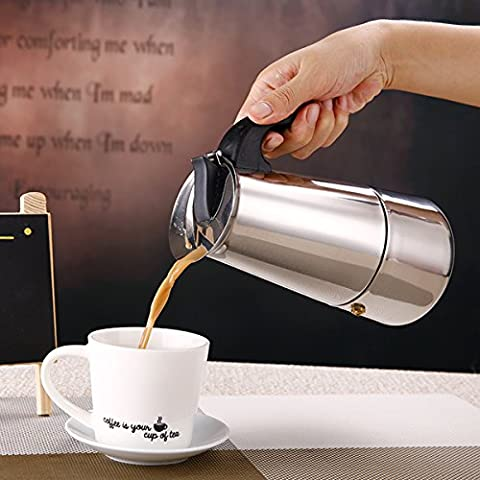 Aliciashouse 4 Coupe 200ml en acier inoxydable Moka Espresso Latte Percolateur Stove Top Coffee Maker Pot
