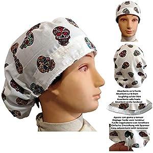 Chirurgische Kappe Frau WEIß MEJICAN SKULLS für langes Haar Handtuch auf der Vorderseite und verstellbarer Spanner auf der Rückseite