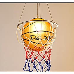 YMXJB Lámpara colgante de creativo baloncesto tipo colgante luz ahorro ojo protección lámparas infantiles sala de estudio Kinder, 220V(warm light)