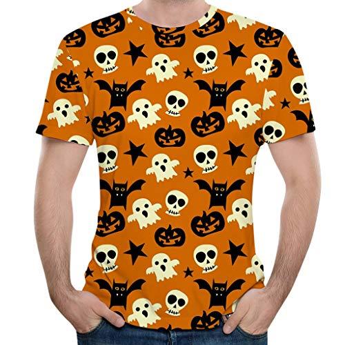 LILIGOD Halloween Kurzarm T-Shirt Herren Kürbis 3D Print T-Shirt O-Ausschnitt Bequem T Shirt Pullover Streetwear Blusen Tops Sweatshirts Mode Wild Poloshirts Tuniken Oberteile