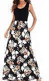 Yanhoo Damen Gestreift Lange Boho Kleid Lady Beach Sommer Sundrss Maxikleid Strand Häkeln Vintage Floral Bodycon Sleeveless beiläufiges Abend Partei Abschlussball Schwingen (L2, Schwarz F)