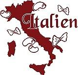 GRAZDesign 630309_57_030 Wandtattoo Wohnzimmer Italien Karte Umriss Länder Stiefel Nudeln Welt Atlas (60x57cm//030 dunkelrot)