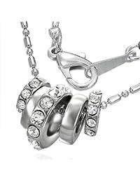 Mode Kristall Multi drehbare Ring Charm Halskette mit Zirkon - Weiß