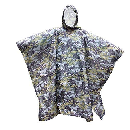 YONGYONG Poncho Imperméable Camouflage Auvent De Sol Multifonctionnel Poncho Lâche À Capuchon Adapté Aux Activités De Plein Air