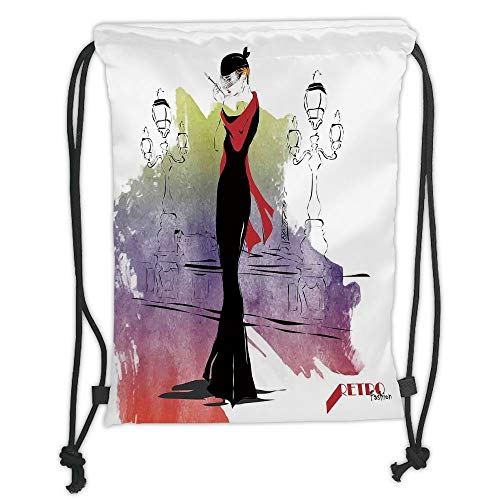 Drawstring Backpacks Bags,Fashion House Decor,Girl with Red Shawl Street Lights Sixties Trends Retro Style Glamour,Black Purple Soft Satin,5 Liter Capacity,Adjustable String Closur -