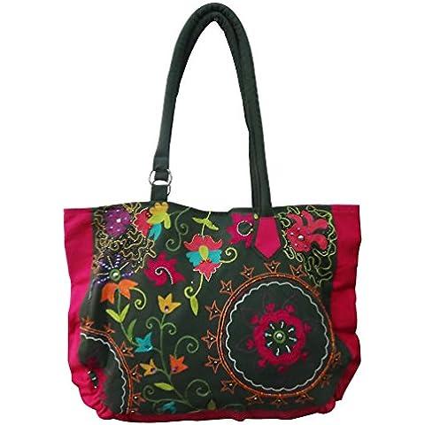 bolso de hombro hecho a mano decorativo de cuentas lona de algodón grandes accesorios de material de la bolsa de compras de las mujeres gitanas del bolso de mano de color caqui de moda