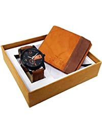 XPRA Analog Watch, Tan & Brown Genuine Leather Wallet For Men/Boys Combo (Pack Of 2) - (WCH-WL-18)