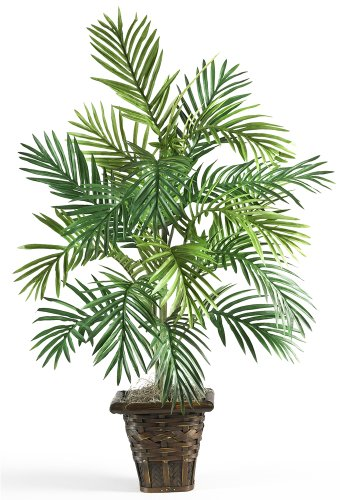 Fast 6536Areca Palm mit Weidenkorb natur Deko Silk Pflanze, Grün