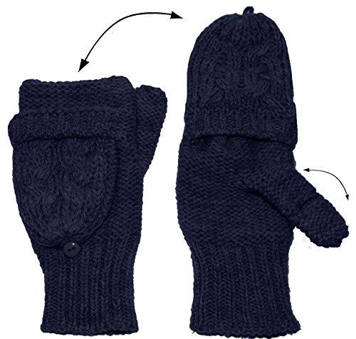 Handschuhe STRICK - umwandelbar zu Fausthandschuhen - dunkel BLAU - für Erwachsene - fingerlose sehr weiche mit Klappe - Strickhandschuh Strick gestrickt - uni einfarbig weich fingerfrei Strick - Fotohandschuhe mit Öffnung für die Fingerkuppen - fingerlos und fingerfrei