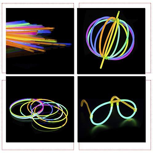 stäbe Party-Packungen mit Steckern für Neon Halskette, Fluoreszierendes Licht, Glühend Armbänder, Stirnbänder, Schutzbrillen, Party Füllung, 100 Teile - Mehrfarbig, 100 Glow Sticks ()