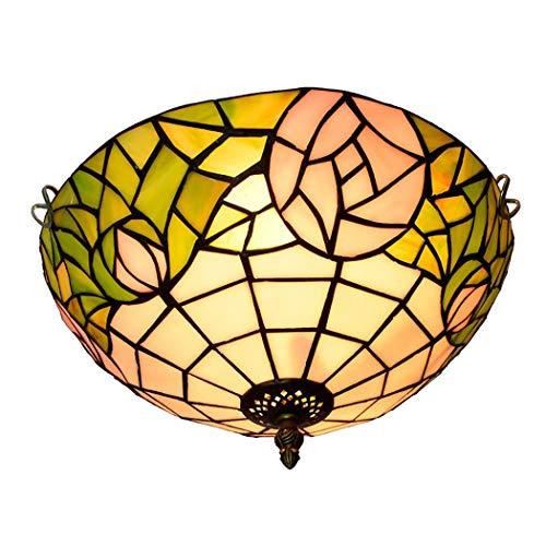 Litaotao Deckenlampe im Tiffany-Stil, 12 Zoll (30,5 cm), Studio, Deckenleuchte, Glas in den Farben Rosa, Dekoration im Zubehör, E27,40 W