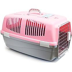 BPS (R) Transportín Rígido para Gato o perro, Animales Domésticos, Tamaño: 60 x 39 x 35 cm BPS-1206 (Rosado)