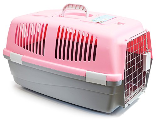 BPS (R) Transportín Rígido para Perro o Gato, Animales Domésticos, Tamaño: 60 x 39 x 35 cm BPS-1206 (Rosado)