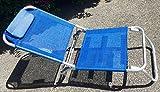 immagine prodotto Spiaggina Blu a 3 Posizioni in Alluminio e Textilene 685974 Con Cuscino , 3 Cinghie Elastiche