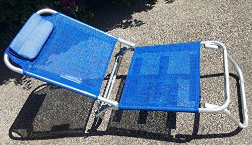 Eurolandia spiaggina blu a 3 posizioni in alluminio e textilene 685974 con cuscino, 3 cinghie elastiche