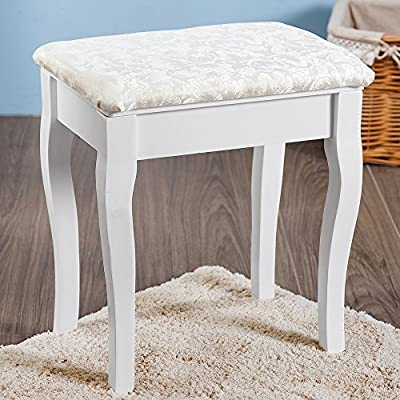 Life Carver White Dressing Table Stool Cream Cushion Padded Chair Seat - inexpensive UK light store.