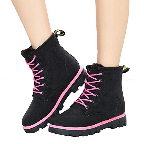 women ankle short boots flat heel winter leather warm casual comfort shoelace snow cotton shoes . black . 40