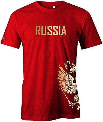 Jayess WM 2018 - Russland - Russia - Adler Gold - Fanshirt - Herren T-Shirt in Rot by Gr. L