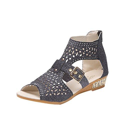 Strungten Frauen Kristall Sandalen, Dame Fashion Platform Wedges Fischmund Aushöhlen Strass Sandalen Sommer Römische Schuhe - Römische Schwarze Farbtöne