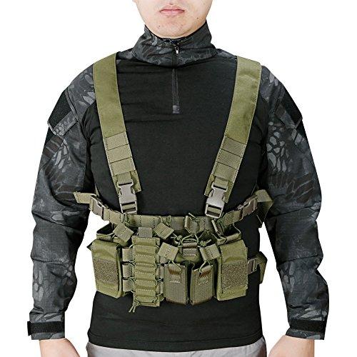 FUZKI Taktische Weste Recon Chest Rig für Herren Damen mit 5,56 9mm Magazine Taschen Tactical MOLLE Weste für Airsoft Paintball Armee Polizei Militär Jagd Kampf (Mit Paintball-pistolen Mags)