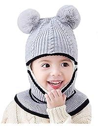 Uniyoung Girls Boys Winter Warm Hat Toddler Baby Knit Fleece Lining Beanie  Hat Earflap Hood Scarves Kids Balaclava Hat Skiing… b288b1261fb5