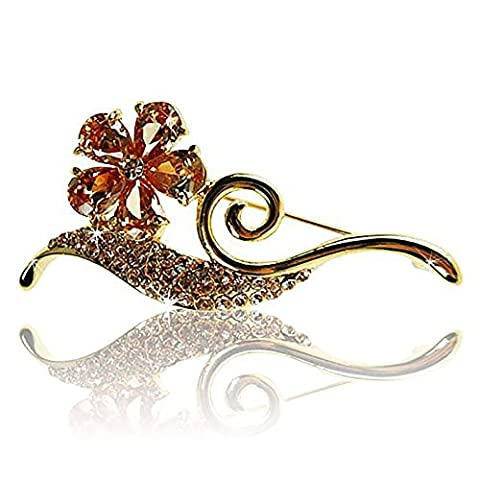 Janeo Brooches & Pins Topaze Poire Orange Kristall