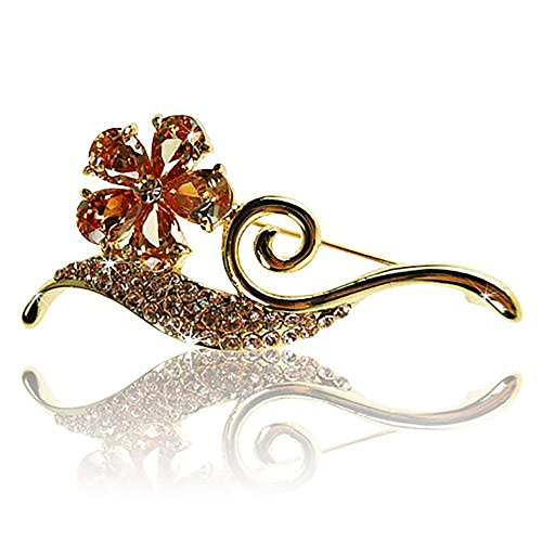 Paris Clover and Stem Brooch Pin, Art Deco Parisian Haute Couture Style with Topaz Swarovski & Czech Crystals, 14k Gold Plated.