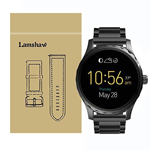 Ceston Classic Metall Ersatz Uhrenarmband für Fossil Q Marshal Smartwatch (Metall Schwarz)