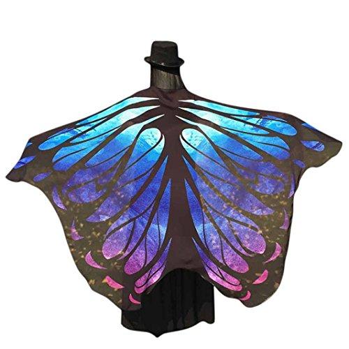 Frauen Weiche Gewebe Schmetterlings Flügel Schal feenhafte Damen Nymphe Pixie Kostüm Zusatz Für Show Für Show(197 * 125CM, Blau2) ()