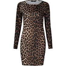 55e843116dc Fast Fashion Damen Mit Langen Ärmeln Leopardenmuster Bodycon Kleid