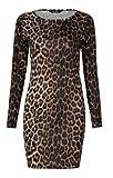 Fast Fashion Damen Mit Langen Ärmeln Leopardenmuster Bodycon Kleid (EUR 40/42 - UK (12-14), Leopard Print)