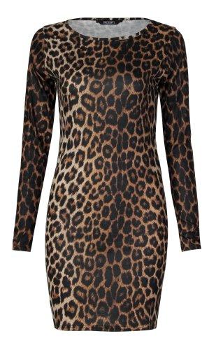 Slinky-schlauch (Fast Fashion Damen Mit Langen Ärmeln Leopardenmuster Bodycon Kleid (EUR 40/42 - UK (12-14), Leopard Print))