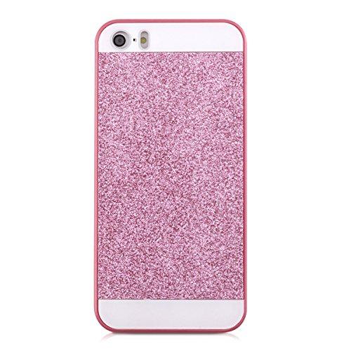 kwmobile Hülle für Apple iPhone SE / 5 / 5S - Backcover Case Handy Schutzhülle Kunststoff - Hardcase Cover Marmor Design Schwarz Weiß Glitzer Rechteck Pink Weiß