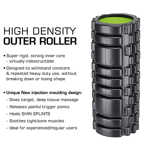 BEST QUALITY 2-in-1 Foam Rollers AVAILABLE! *The Professionals' Choice! *Instant Targeted Deep Tissue Massage Therapy for Painful, Tight Muscles *Relieves CHRONIC BACK conditions *Trigger Point Foam Roller + Smooth Roller for INJURY REHAB *FREE USER GUIDE & EAT FIT GUIDE E-Books + CARRY CASE!
