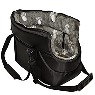 MALWERA BLACK with GREY FUR CARRY BAG SHOULDER TRAVEL CARRIER DOG PUPPY CAT PET ANIMAL 515CI2oJo7L
